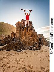 praia, energético, motivado, mulher, condicão física