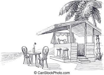 praia, esboço, vetorial, barzinhos