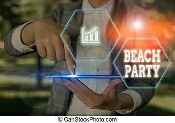 praia., escrita, grande, texto, organizar, negócio, palavra, praia, conceito, partido., evento, grupo, mostrando
