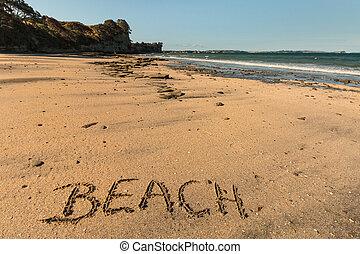praia, escrito, em, areia