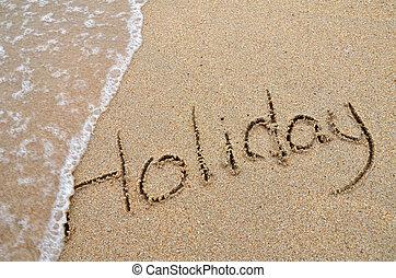 praia, escrito, feriado, palavra, arenoso