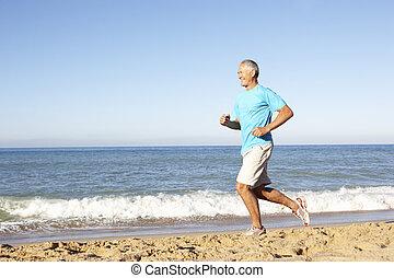 praia, executando, condicão física, ao longo, roupa, homem sênior