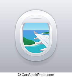 praia., férias, tropicais, janela., destinations., avião, vista