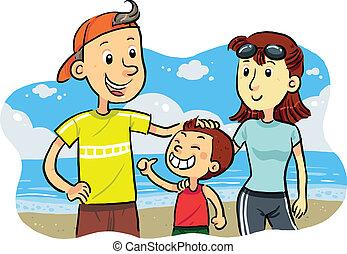 praia, família