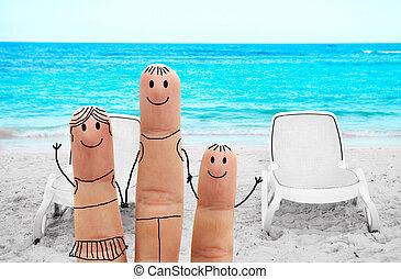 praia, família, feliz