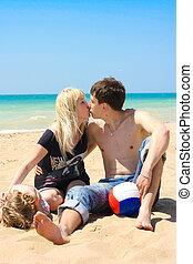 praia, família jovem