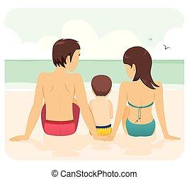 praia, família, junto, férias