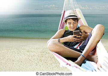 praia, feriados verão, rede, criança, mentindo