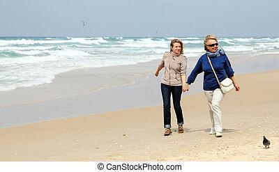 praia, filha, inverno, mãe