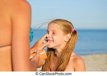 praia, filha, mãe