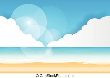 praia, fundo, vista mar