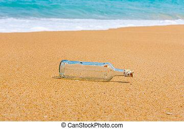 praia, garrafa