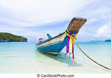 praia, ilha samui, sentar, cauda longa, tailandia, bote
