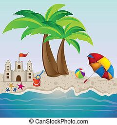 praia, ilustração