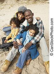 praia, inverno, família, sentando