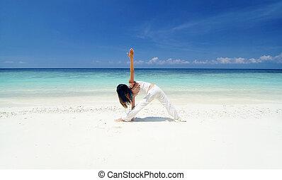 praia, ioga