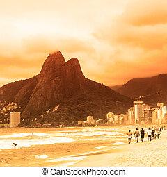 praia, janeiro, ipanema, de, rio, brazil.