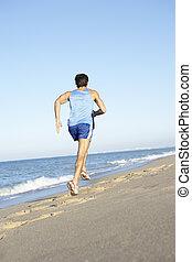 praia, jovem, executando, condicão física, ao longo, roupa, homem