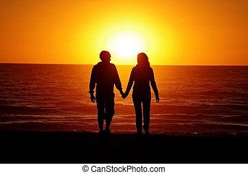 praia, junte pôr-do-sol, amando