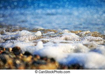 praia, lavando, macro, sobre, tiro., ondas, cascalho