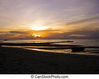 praia, ligado, a, ilha, de, zanzibar