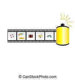 praia, ligado, a, película, fita, vetorial, ilustração