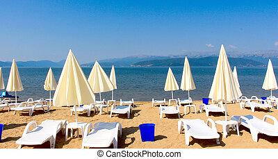 praia, ligado, um, lago, prespa, macedonia