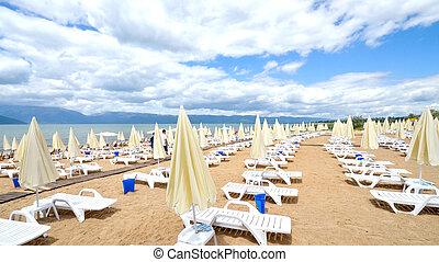 praia, ligado, um, prespa, lago, macedonia