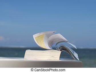 praia, livro, closeup