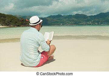 praia, livro, leitura, homem, camisa, denim
