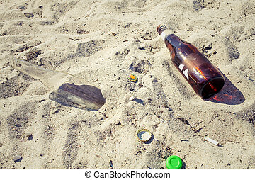 praia, lixo