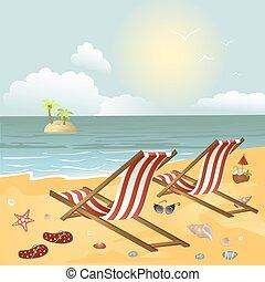 praia, longue, dois, chaise