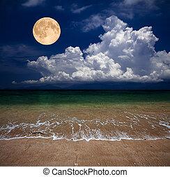 praia, lua
