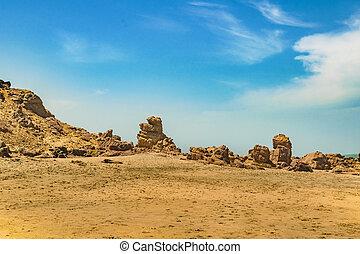 Big rocks at Praia Malhada beach in Jericoacoara Brazil