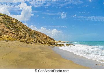 Empty rocky beach in Praia Malhada, Jericoacoara, Brazil