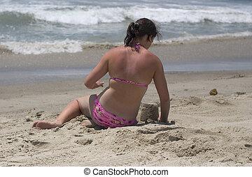 praia, menina
