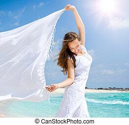praia, menina, echarpe, bonito, branca