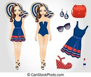 praia, menina, moda, azul, jogo