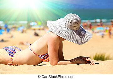 praia, mulher