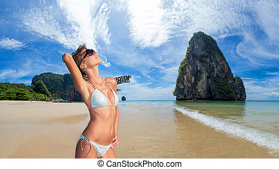 praia., mulher bonita