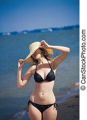 praia, mulher, chapéu