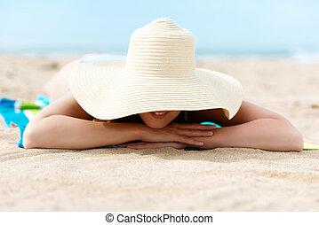 praia, mulher, sunhat, relaxante