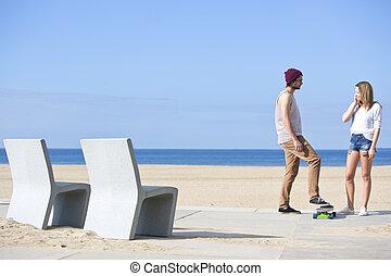 praia, namoradeira