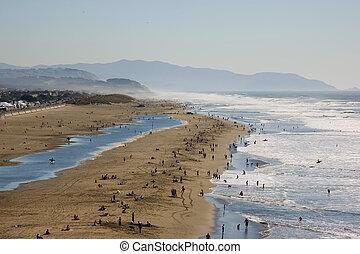 praia, nebuloso