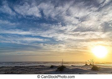 praia, nebuloso, manhã