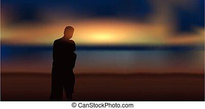 praia, olhar, magia, amor, par, romanticos, pôr do sol