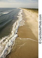 praia., ondas, bata