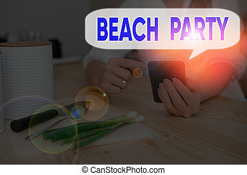 praia., organizar, letra, conceito, mostrando, praia, texto, evento, significado, grupo, grande, partido.