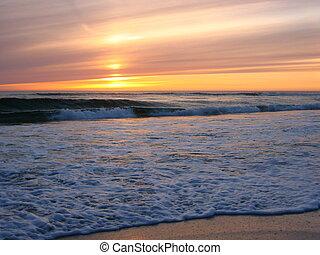 praia, orre, pôr do sol