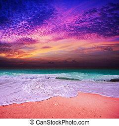 praia, pôr do sol